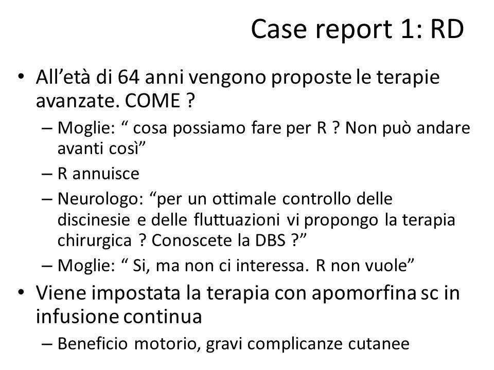 """Case report 1: RD All'età di 64 anni vengono proposte le terapie avanzate. COME ? – Moglie: """" cosa possiamo fare per R ? Non può andare avanti così"""" –"""