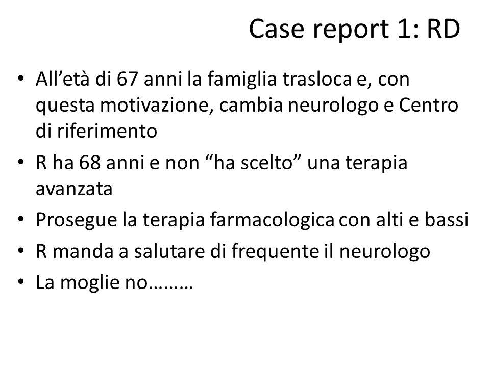 """Case report 1: RD All'età di 67 anni la famiglia trasloca e, con questa motivazione, cambia neurologo e Centro di riferimento R ha 68 anni e non """"ha s"""