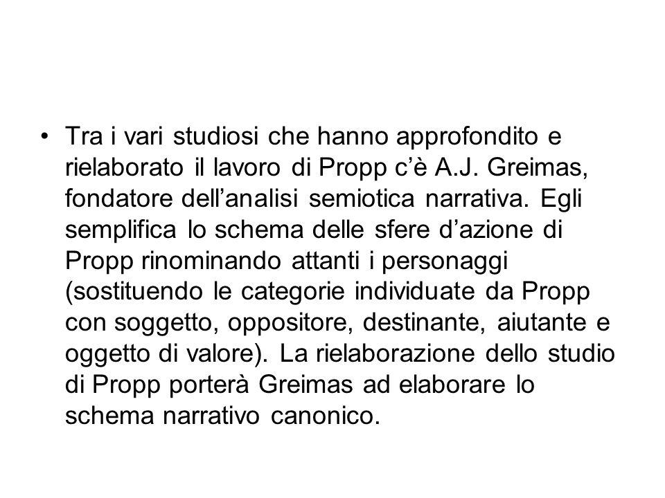 Tra i vari studiosi che hanno approfondito e rielaborato il lavoro di Propp c'è A.J. Greimas, fondatore dell'analisi semiotica narrativa. Egli semplif