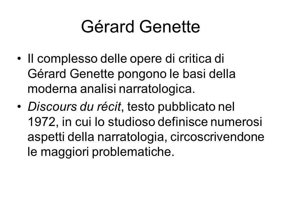 Gérard Genette Il complesso delle opere di critica di Gérard Genette pongono le basi della moderna analisi narratologica. Discours du récit, testo pub