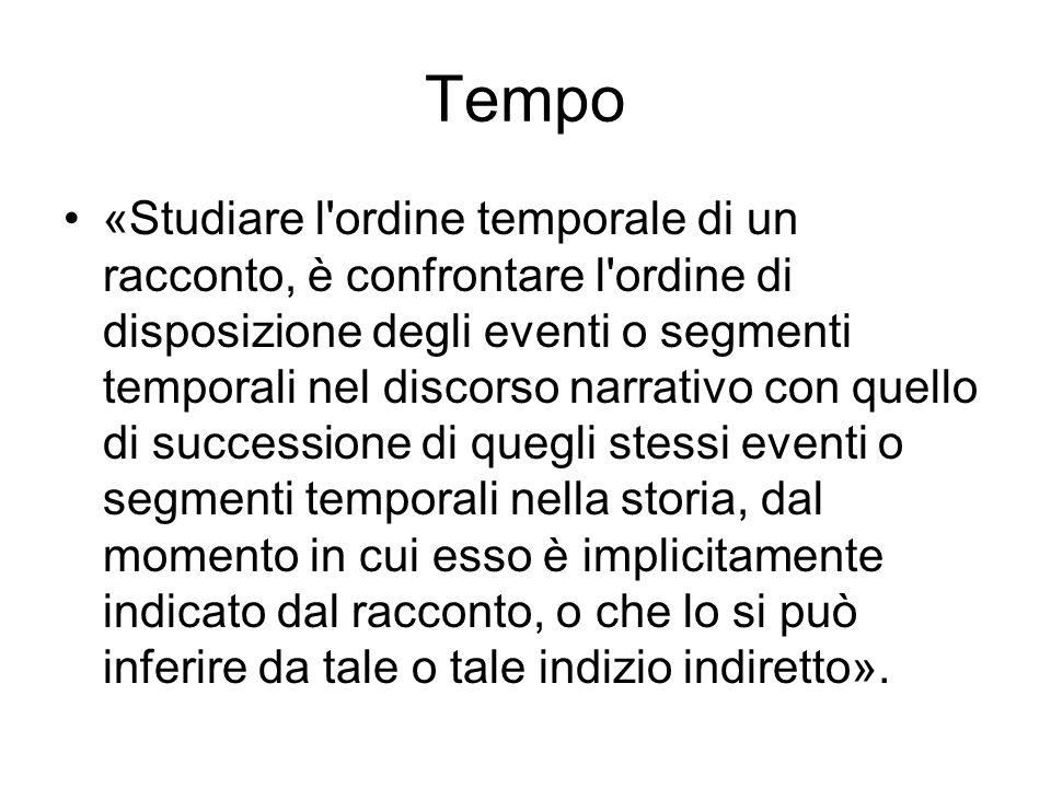 Tempo «Studiare l'ordine temporale di un racconto, è confrontare l'ordine di disposizione degli eventi o segmenti temporali nel discorso narrativo con