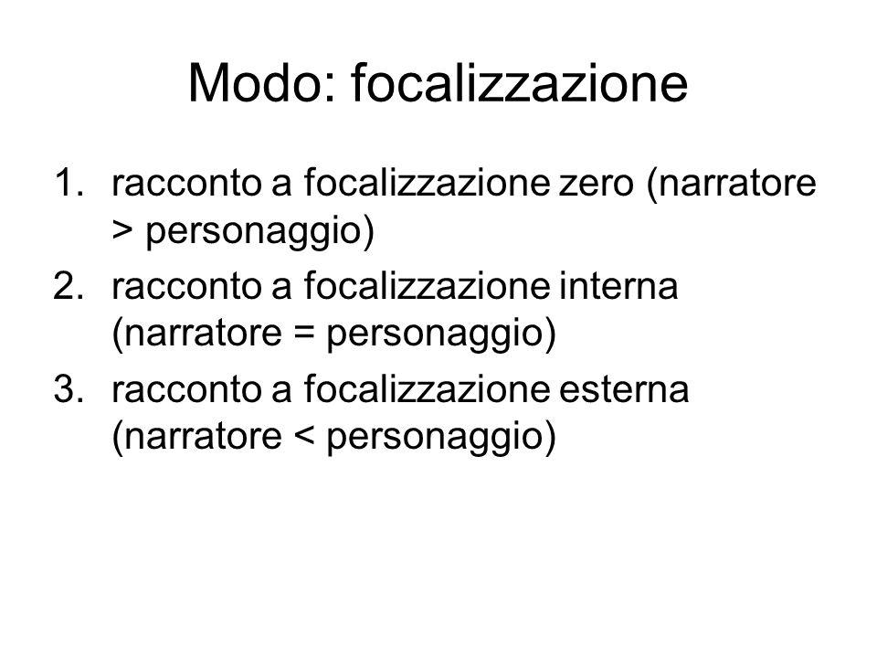 Modo: focalizzazione 1.racconto a focalizzazione zero (narratore > personaggio) 2.racconto a focalizzazione interna (narratore = personaggio) 3.raccon