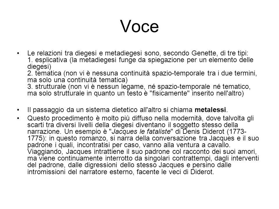 Voce Le relazioni tra diegesi e metadiegesi sono, secondo Genette, di tre tipi: 1. esplicativa (la metadiegesi funge da spiegazione per un elemento de