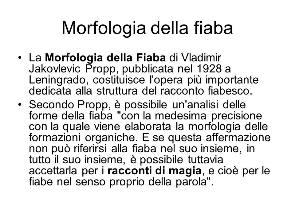 Morfologia della fiaba La Morfologia della Fiaba di Vladimir Jakovlevic Propp, pubblicata nel 1928 a Leningrado, costituisce l'opera più importante de