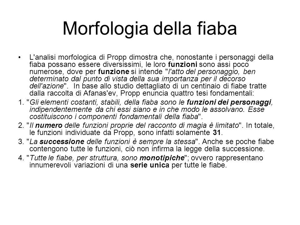 Morfologia della fiaba L'analisi morfologica di Propp dimostra che, nonostante i personaggi della fiaba possano essere diversissimi, le loro funzioni