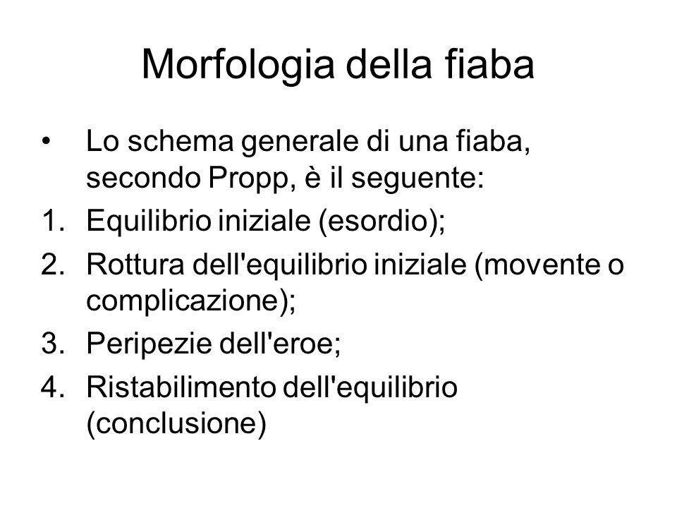 Morfologia della fiaba Lo schema generale di una fiaba, secondo Propp, è il seguente: 1.Equilibrio iniziale (esordio); 2.Rottura dell'equilibrio inizi