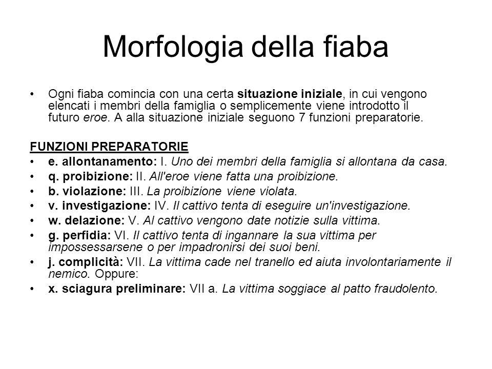 Morfologia della fiaba Ogni fiaba comincia con una certa situazione iniziale, in cui vengono elencati i membri della famiglia o semplicemente viene in