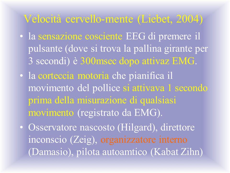 Velocità cervello-mente (Liebet, 2004) la sensazione cosciente EEG di premere il pulsante (dove si trova la pallina girante per 3 secondi) è 300msec d