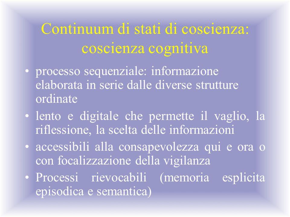 Continuum di stati di coscienza: coscienza cognitiva processo sequenziale: informazione elaborata in serie dalle diverse strutture ordinate lento e di
