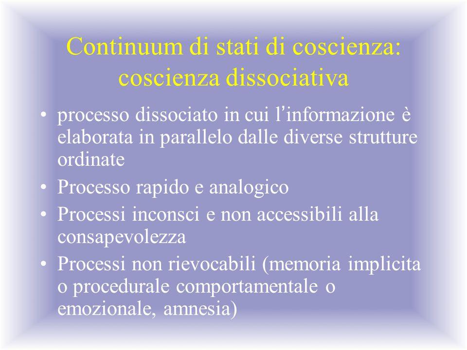 Continuum di stati di coscienza: coscienza dissociativa processo dissociato in cui l ' informazione è elaborata in parallelo dalle diverse strutture o