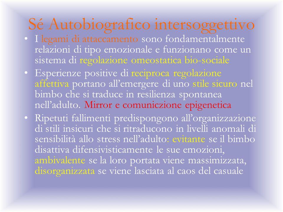 Sé Autobiografico intersoggettivo I legami di attaccamento sono fondamentalmente relazioni di tipo emozionale e funzionano come un sistema di regolazi
