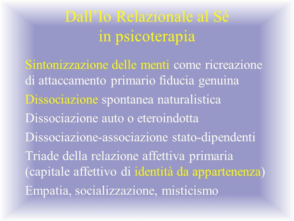 Dall'Io Relazionale al Sé in psicoterapia Sintonizzazione delle menti come ricreazione di attaccamento primario fiducia genuina Dissociazione spontane