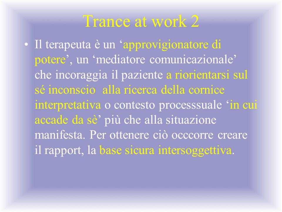 Trance at work 2 Il terapeuta è un 'approvigionatore di potere', un 'mediatore comunicazionale' che incoraggia il paziente a riorientarsi sul sé incon
