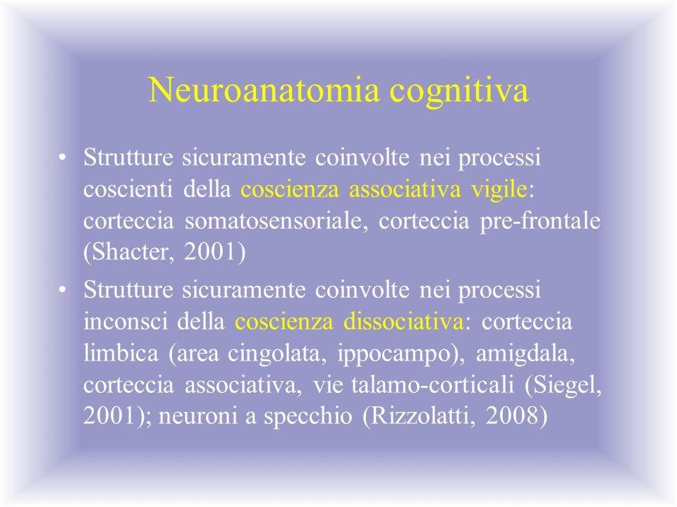 Neuroanatomia cognitiva Strutture sicuramente coinvolte nei processi coscienti della coscienza associativa vigile: corteccia somatosensoriale, cortecc