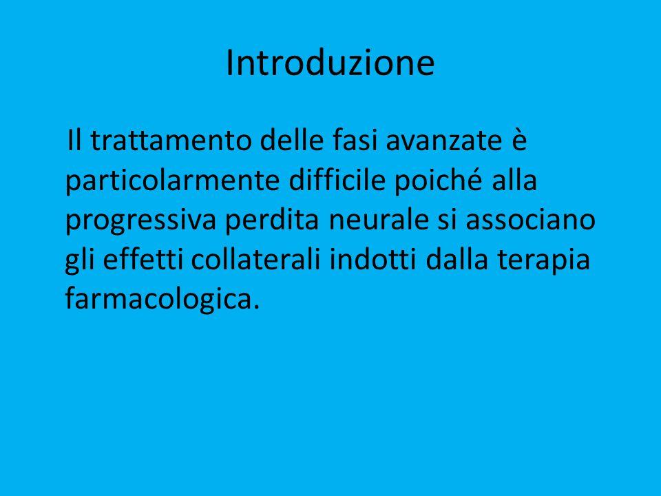 Introduzione Il trattamento delle fasi avanzate è particolarmente difficile poiché alla progressiva perdita neurale si associano gli effetti collaterali indotti dalla terapia farmacologica.