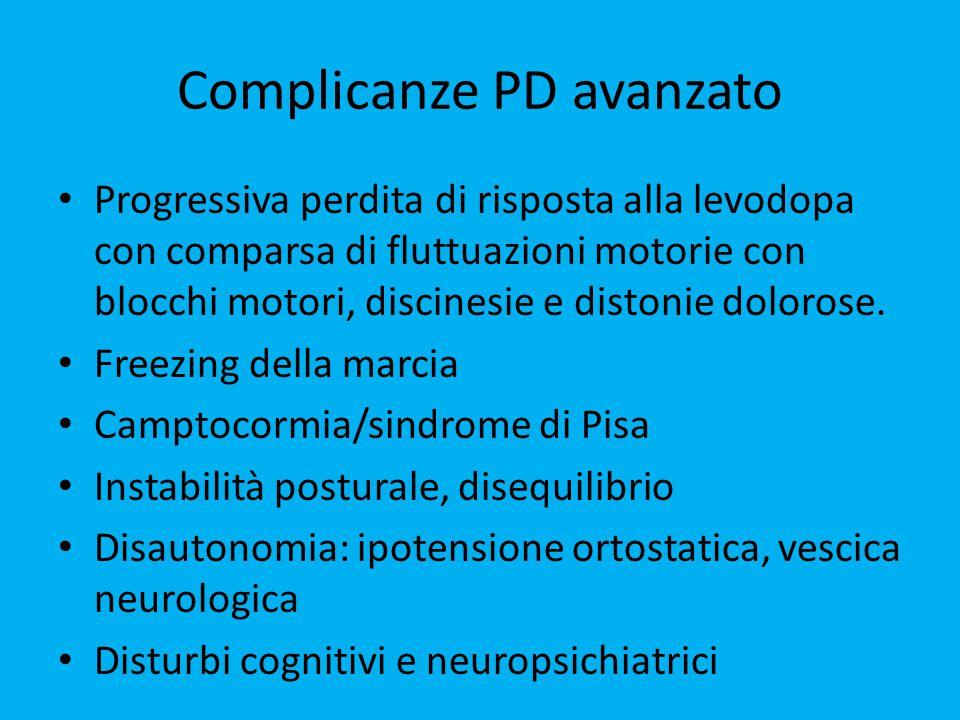 Complicanze PD avanzato Progressiva perdita di risposta alla levodopa con comparsa di fluttuazioni motorie con blocchi motori, discinesie e distonie dolorose.