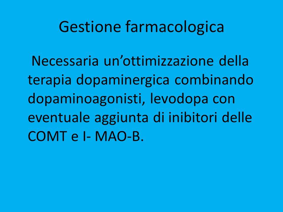 Gestione farmacologica Necessaria un'ottimizzazione della terapia dopaminergica combinando dopaminoagonisti, levodopa con eventuale aggiunta di inibitori delle COMT e I- MAO-B.