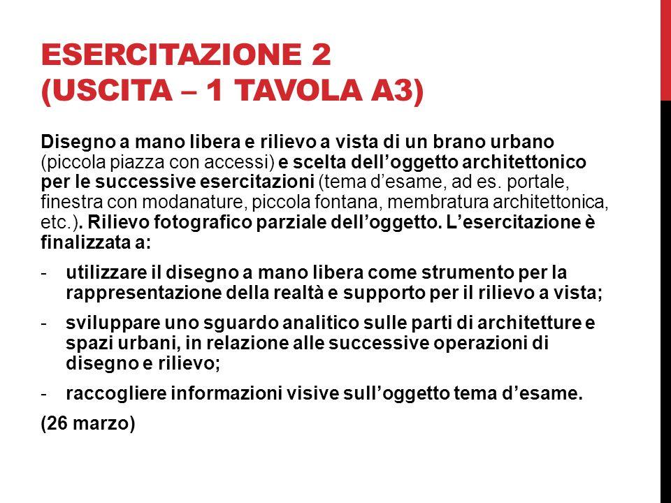 ESERCITAZIONE 2 (USCITA – 1 TAVOLA A3) Disegno a mano libera e rilievo a vista di un brano urbano (piccola piazza con accessi) e scelta dell'oggetto architettonico per le successive esercitazioni (tema d'esame, ad es.