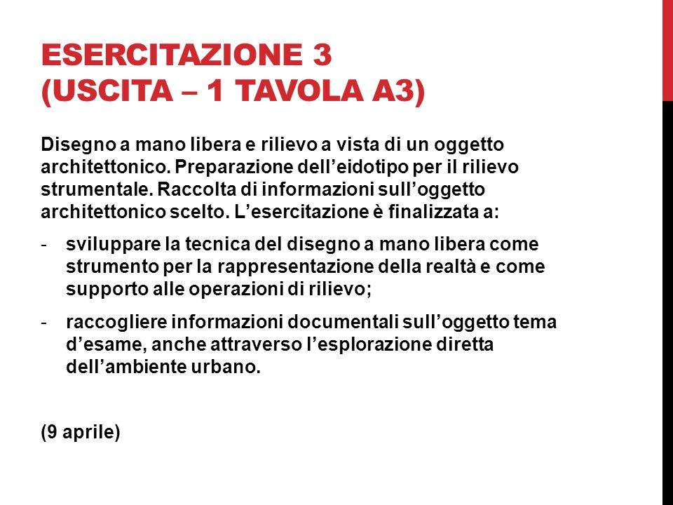 ESERCITAZIONE 3 (USCITA – 1 TAVOLA A3) Disegno a mano libera e rilievo a vista di un oggetto architettonico.