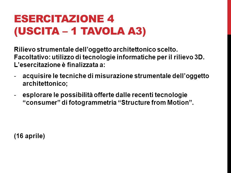 ESERCITAZIONE 4 (USCITA – 1 TAVOLA A3) Rilievo strumentale dell'oggetto architettonico scelto.