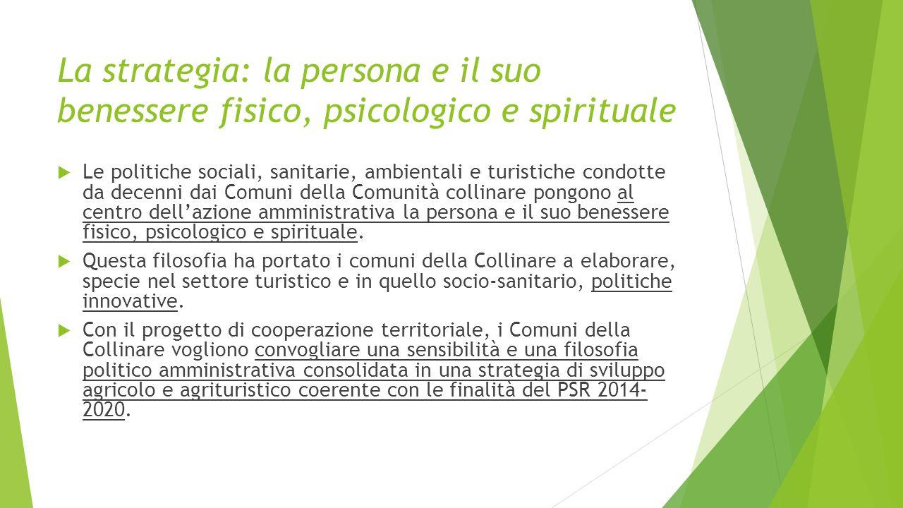 La strategia: la persona e il suo benessere fisico, psicologico e spirituale  Le politiche sociali, sanitarie, ambientali e turistiche condotte da de
