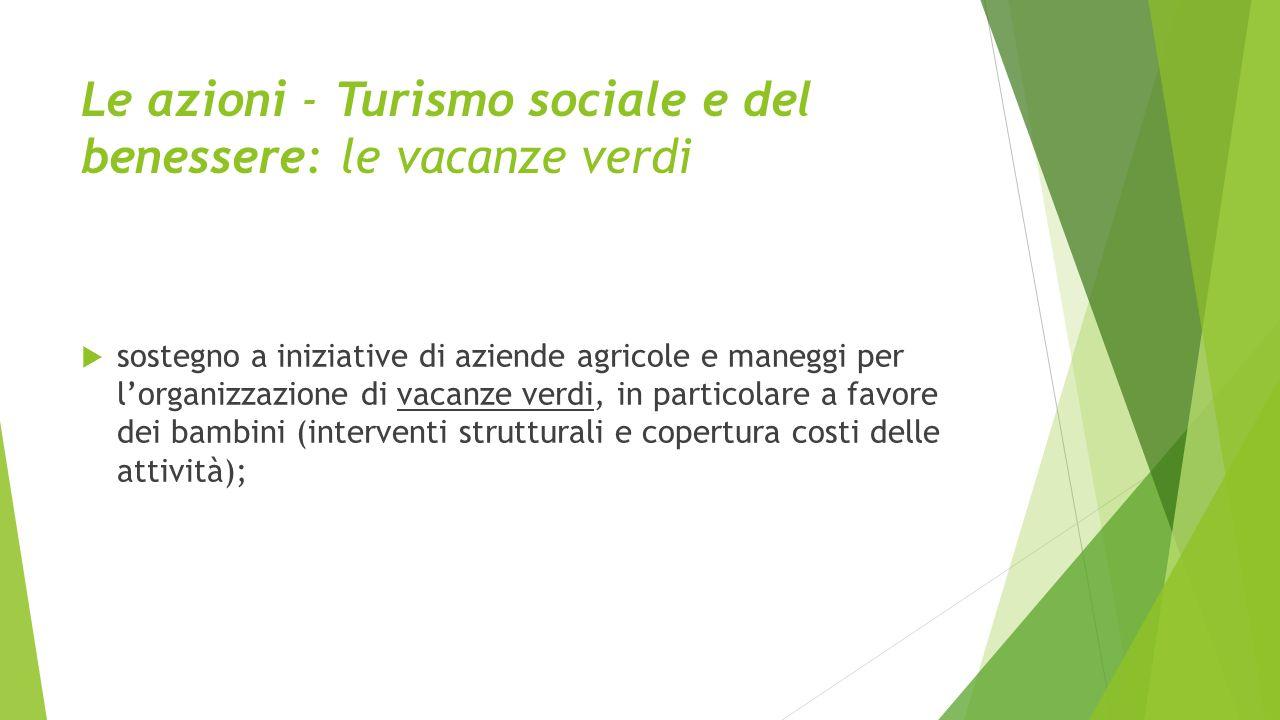Le azioni - Turismo sociale e del benessere: le vacanze verdi  sostegno a iniziative di aziende agricole e maneggi per l'organizzazione di vacanze ve