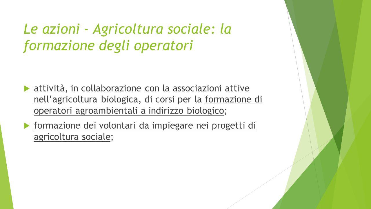 Le azioni - Agricoltura sociale: la formazione degli operatori  attività, in collaborazione con la associazioni attive nell'agricoltura biologica, di corsi per la formazione di operatori agroambientali a indirizzo biologico;  formazione dei volontari da impiegare nei progetti di agricoltura sociale;
