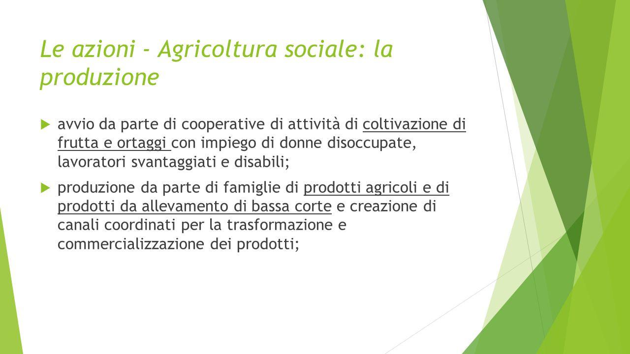 Le azioni - Agricoltura sociale: la produzione  avvio da parte di cooperative di attività di coltivazione di frutta e ortaggi con impiego di donne di