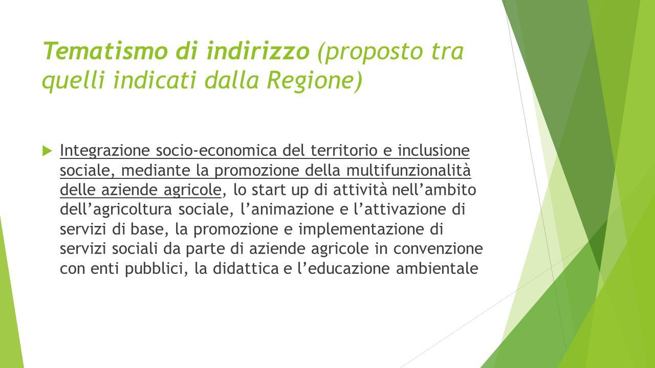 Tematismo di indirizzo (proposto tra quelli indicati dalla Regione)  Integrazione socio-economica del territorio e inclusione sociale, mediante la pr