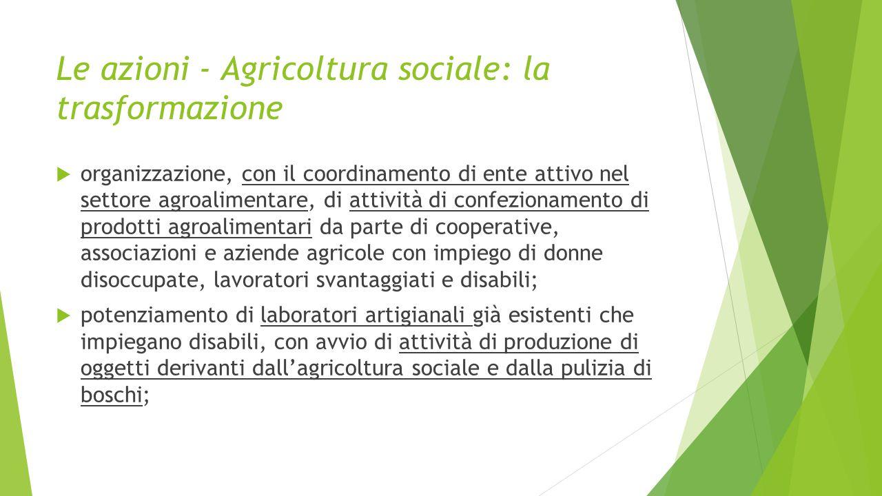 Le azioni - Agricoltura sociale: la trasformazione  organizzazione, con il coordinamento di ente attivo nel settore agroalimentare, di attività di co