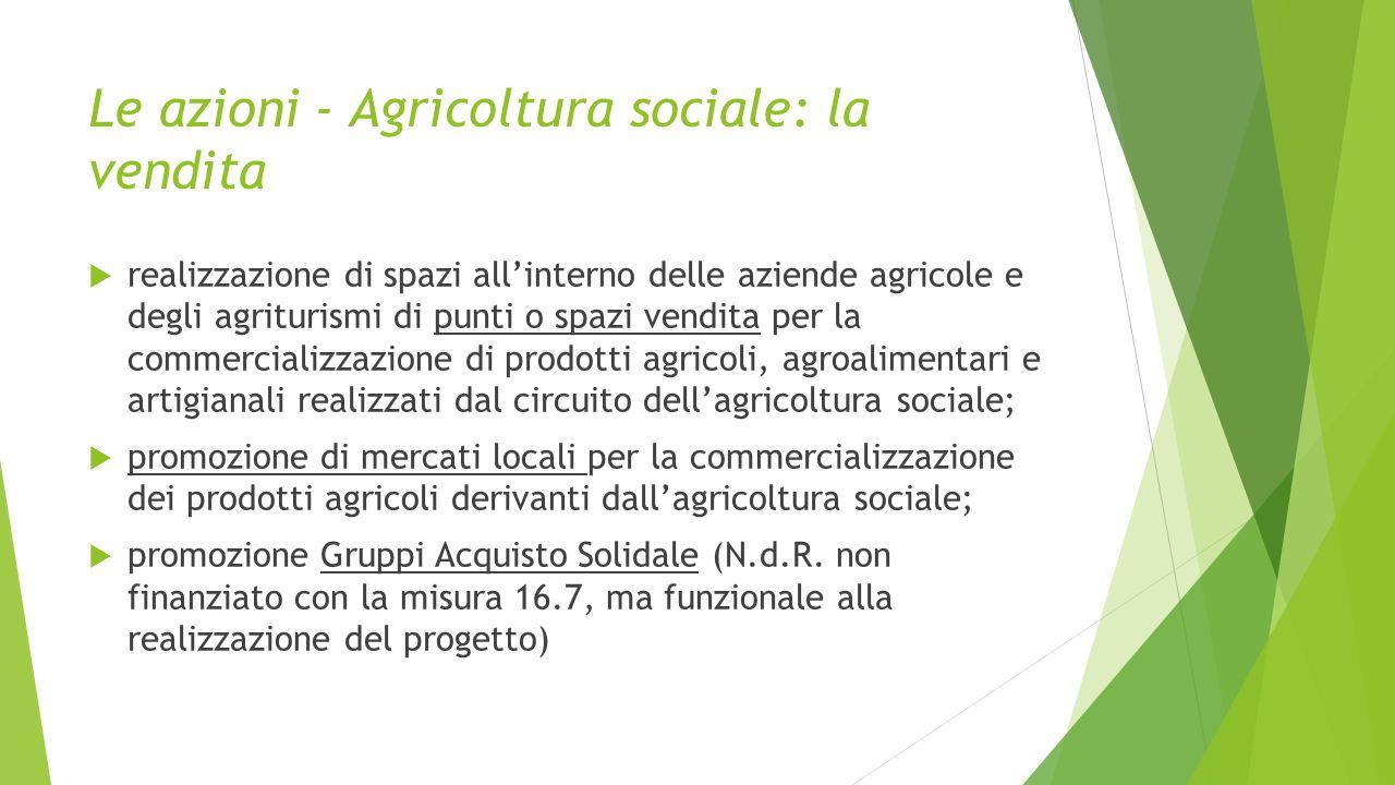 Le azioni - Agricoltura sociale: la vendita  realizzazione di spazi all'interno delle aziende agricole e degli agriturismi di punti o spazi vendita p
