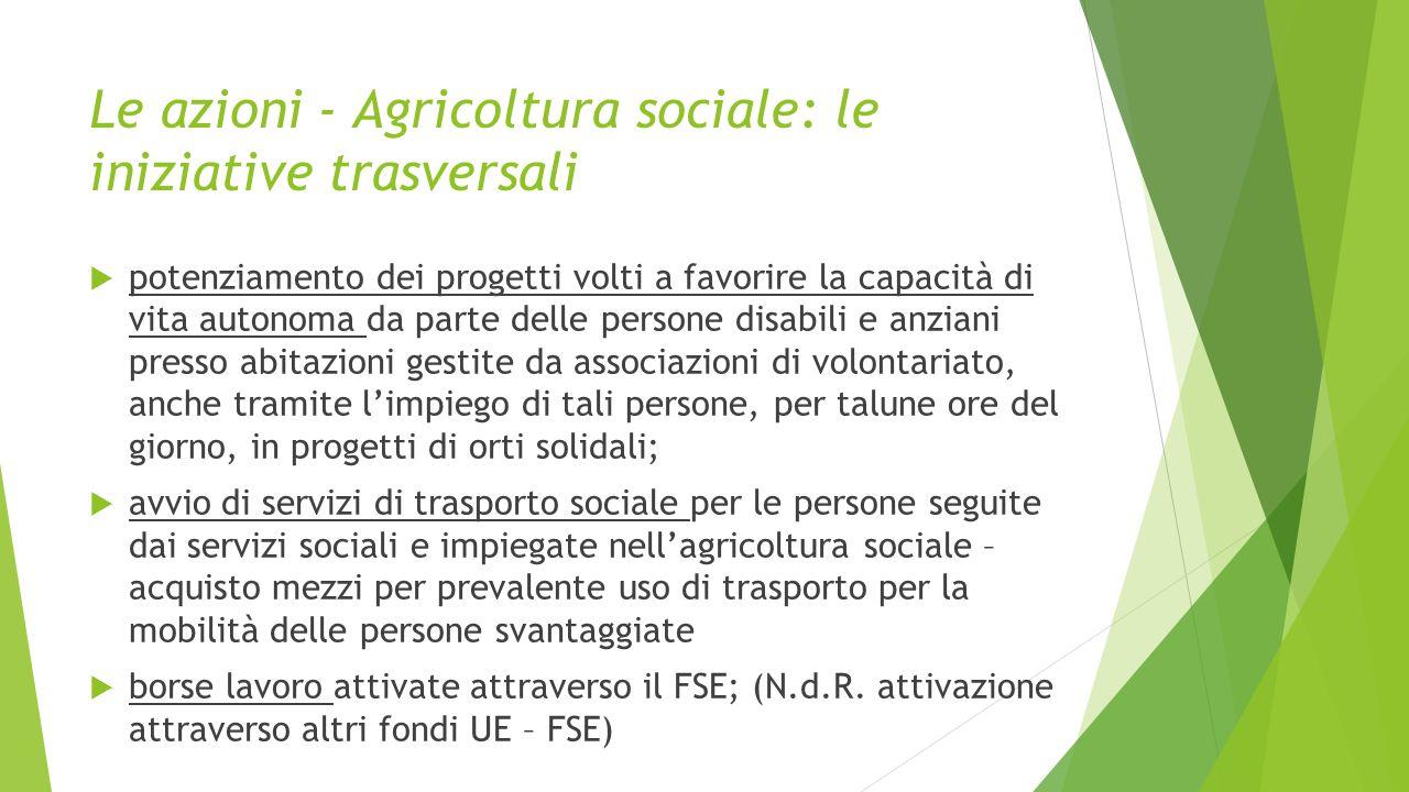 Le azioni - Agricoltura sociale: le iniziative trasversali  potenziamento dei progetti volti a favorire la capacità di vita autonoma da parte delle p