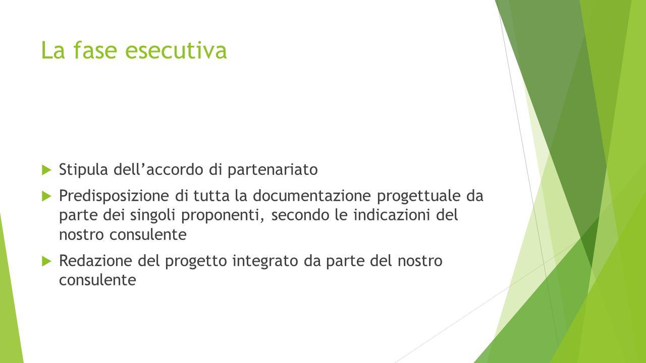 La fase esecutiva  Stipula dell'accordo di partenariato  Predisposizione di tutta la documentazione progettuale da parte dei singoli proponenti, secondo le indicazioni del nostro consulente  Redazione del progetto integrato da parte del nostro consulente