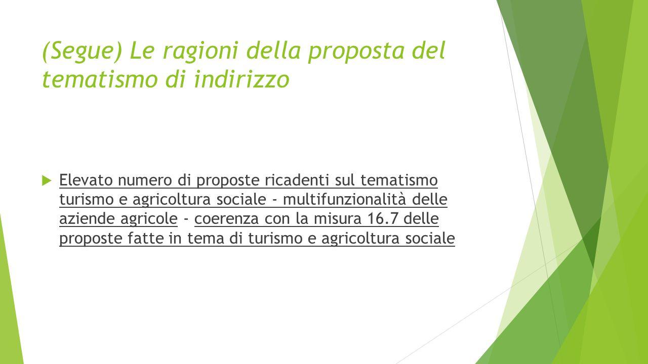 (Segue) Le ragioni della proposta del tematismo di indirizzo  Elevato numero di proposte ricadenti sul tematismo turismo e agricoltura sociale - multifunzionalità delle aziende agricole - coerenza con la misura 16.7 delle proposte fatte in tema di turismo e agricoltura sociale