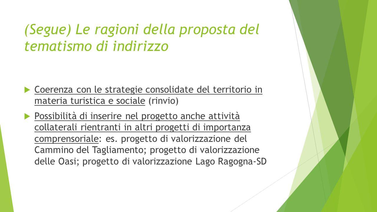 (Segue) Le ragioni della proposta del tematismo di indirizzo  Coerenza con le strategie consolidate del territorio in materia turistica e sociale (ri