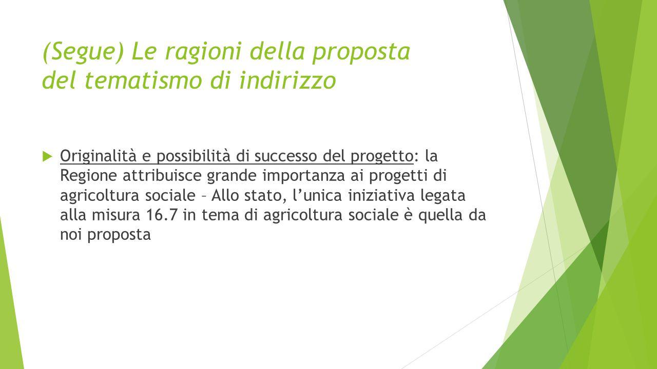 (Segue) Le ragioni della proposta del tematismo di indirizzo  Originalità e possibilità di successo del progetto: la Regione attribuisce grande importanza ai progetti di agricoltura sociale – Allo stato, l'unica iniziativa legata alla misura 16.7 in tema di agricoltura sociale è quella da noi proposta