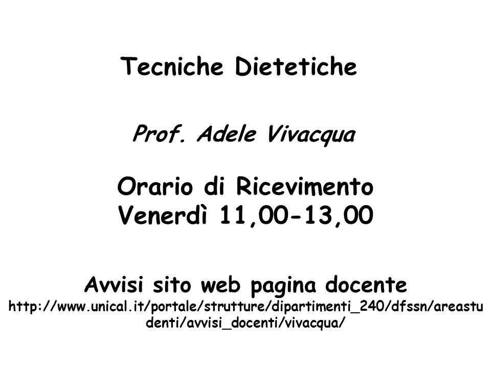 Tecniche Dietetiche Prof. Adele Vivacqua Orario di Ricevimento Venerdì 11,00-13,00 Avvisi sito web pagina docente http://www.unical.it/portale/struttu