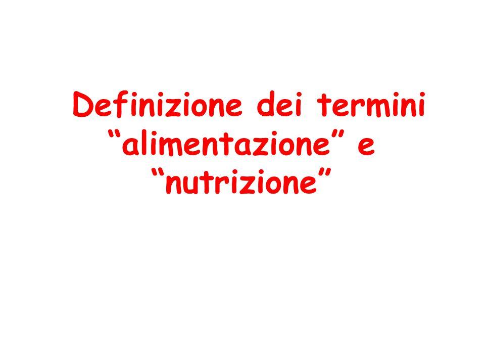 """Definizione dei termini """"alimentazione"""" e """"nutrizione"""""""