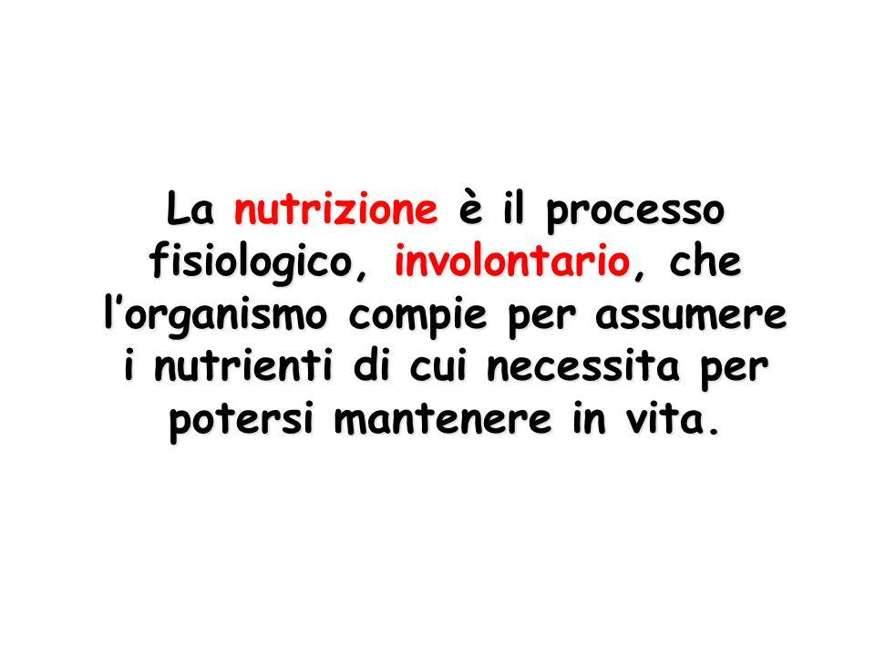 La nutrizione è il processo fisiologico, involontario, che l'organismo compie per assumere i nutrienti di cui necessita per potersi mantenere in vita.
