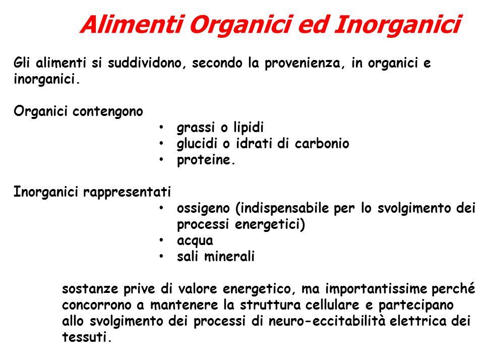 Gli alimenti si suddividono, secondo la provenienza, in organici e inorganici. Organici contengono grassi o lipidi glucidi o idrati di carbonio protei