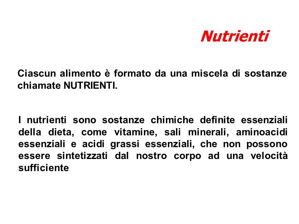 I nutrienti sono sostanze chimiche definite essenziali della dieta, come vitamine, sali minerali, aminoacidi essenziali e acidi grassi essenziali, che