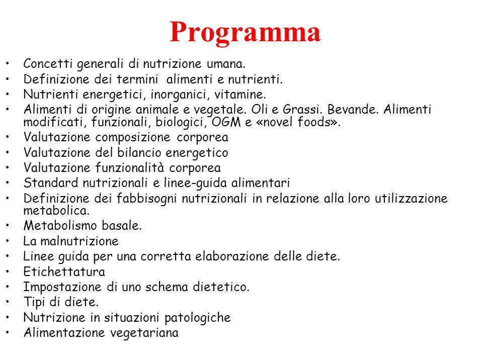 Concetti generali di nutrizione umana. Definizione dei termini alimenti e nutrienti. Nutrienti energetici, inorganici, vitamine. Alimenti di origine a