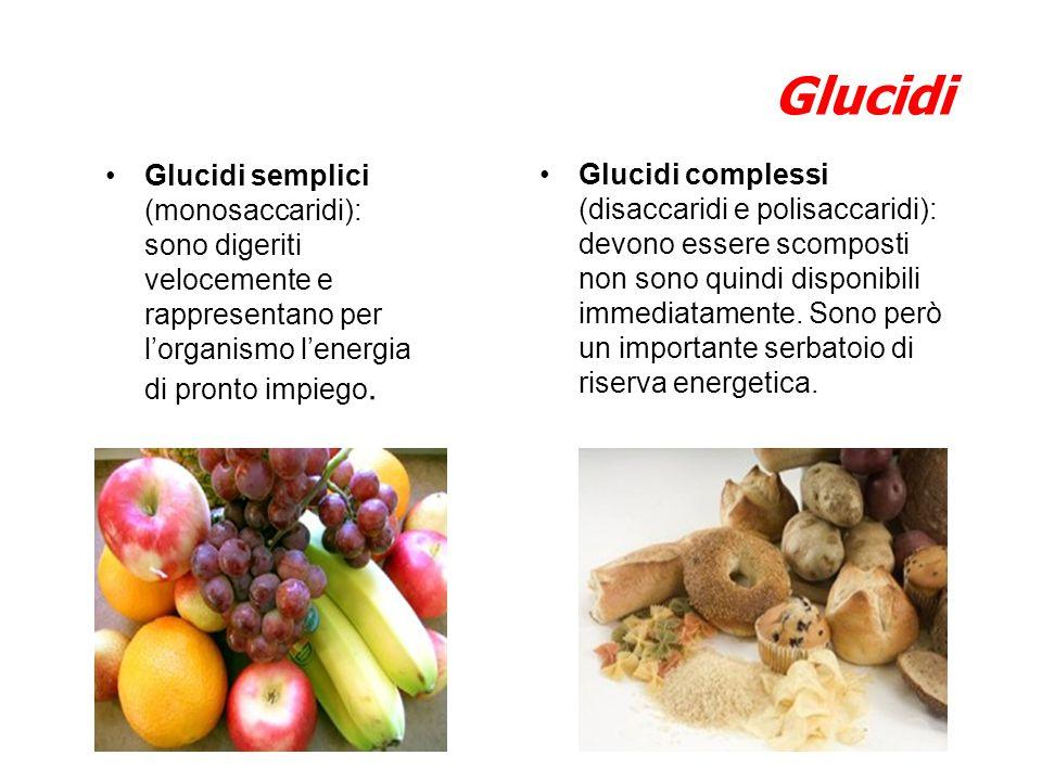 Glucidi semplici (monosaccaridi): sono digeriti velocemente e rappresentano per l'organismo l'energia di pronto impiego. Glucidi complessi (disaccarid