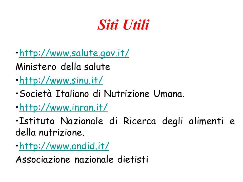 http://www.salute.gov.it/ Ministero della salute http://www.sinu.it/ Società Italiano di Nutrizione Umana. http://www.inran.it/ Istituto Nazionale di