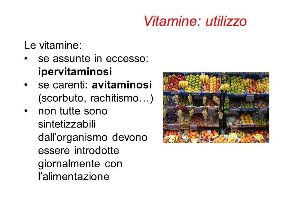 Le vitamine: se assunte in eccesso: ipervitaminosi se carenti: avitaminosi (scorbuto, rachitismo…) non tutte sono sintetizzabili dall'organismo devono