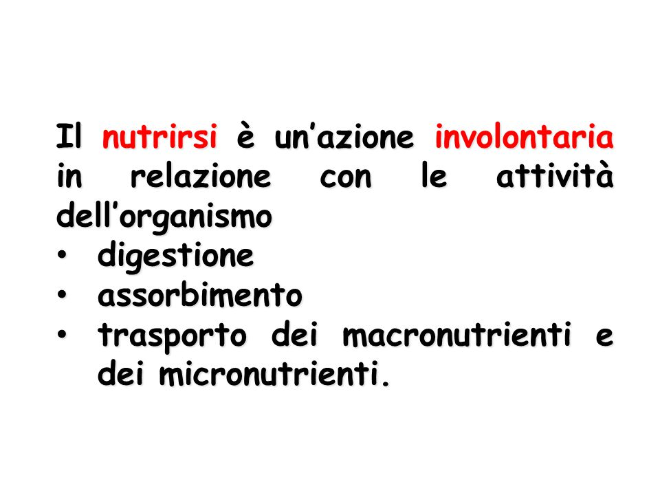 Il nutrirsi è un'azione involontaria in relazione con le attività dell'organismo digestione digestione assorbimento assorbimento trasporto dei macronu
