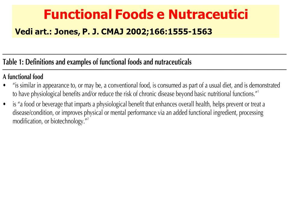 Functional Foods e Nutraceutici Vedi art.: Jones, P. J. CMAJ 2002;166:1555-1563
