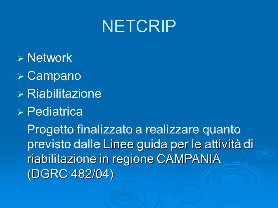 NETCRIP  Network  Campano  Riabilitazione  Pediatrica Linee guida per le attività di riabilitazione in regione CAMPANIA (DGRC 482/04) Progetto finalizzato a realizzare quanto previsto dalle Linee guida per le attività di riabilitazione in regione CAMPANIA (DGRC 482/04)