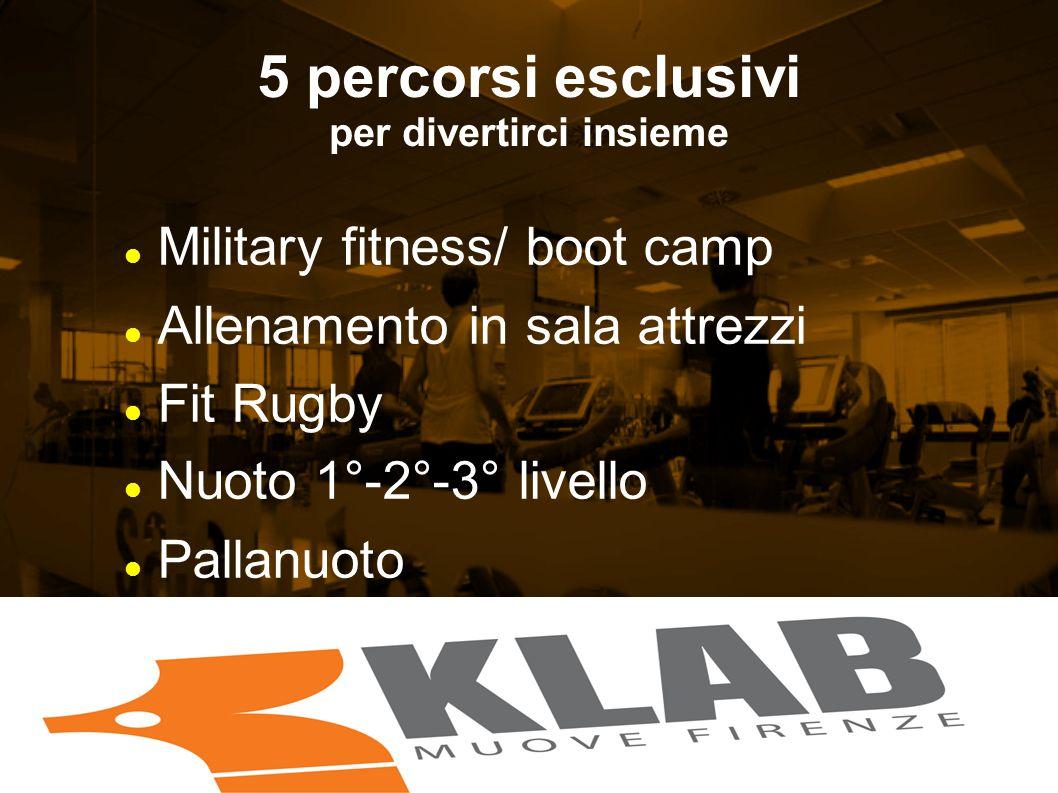 5 percorsi esclusivi per divertirci insieme Military fitness/ boot camp Allenamento in sala attrezzi Fit Rugby Nuoto 1°-2°-3° livello Pallanuoto