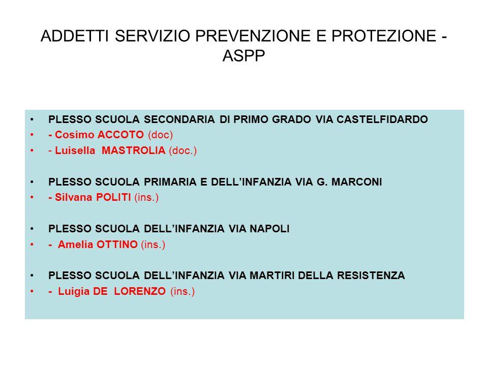 ADDETTI SERVIZIO PREVENZIONE E PROTEZIONE - ASPP PLESSO SCUOLA SECONDARIA DI PRIMO GRADO VIA CASTELFIDARDO - Cosimo ACCOTO (doc) - Luisella MASTROLIA